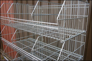 Used shop shelving and crisp stacking baskets