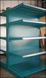 Second hand gondola shelving, used shop shelving at Shoptek